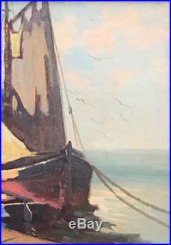 Vtg Signed Orig Oil Painting Cape Cod Seascape By Provincetown Artist Irene Stry