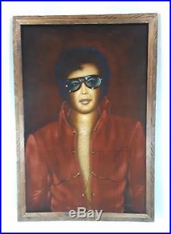 Vtg Velvet Elvis Presley Signed Huge Painting Mexico Wood Tiki Frame 39 x 26 3/4
