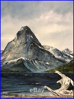 Vtg original oil signed NW Mt. Sinpack painting Joan brosnanan 1975 Glacier park