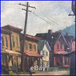WPA Era Artist Signed Vintage Street Scene Original Oil Painting industrial