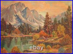 Walker Signed Oil Painting American Antique Vintage Mountains Lake California
