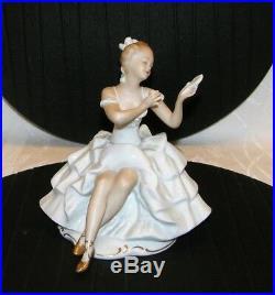 Wallendorf Porcelain Woman Lady Figurine Vintage German Hand Painted Signed