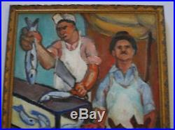 Wasserman Painting Vintage Antique Wpa Ashcan Urban Butcher Expressionist Mod