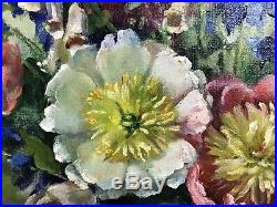 Welsh Artist Oil On Canvas Floral Signed Painting Antique Heather Craigmile
