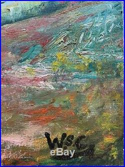 Winston Churchill -vintage canvas Oil Painting Original rare art -Hand signed