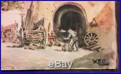 Winston Churchill vintage rare art watercolour painting hand signed WSC No print