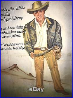 Wrangler Levi Denim Jeans Store Rodeo Ben Vintage Cowboy Canvas Oil Painting