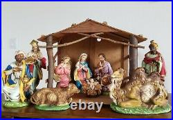 X-Large 12 VTG Hand-Painted 11 PC NATIVITY SET Made in ITALY + STABLE Fontanini