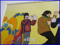 Yellow Submarine Lineup Beatles Animation Cel Hand Painted Painting Vintage Mod