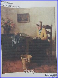 Young Dutch Girl Reading a Book Interior Scene Evert Jan Ligtelijn Oil on Panel