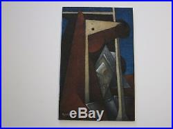 Zenteno Vintage Painting Abstract Modernism Surreal Geometric Cubist Cubism